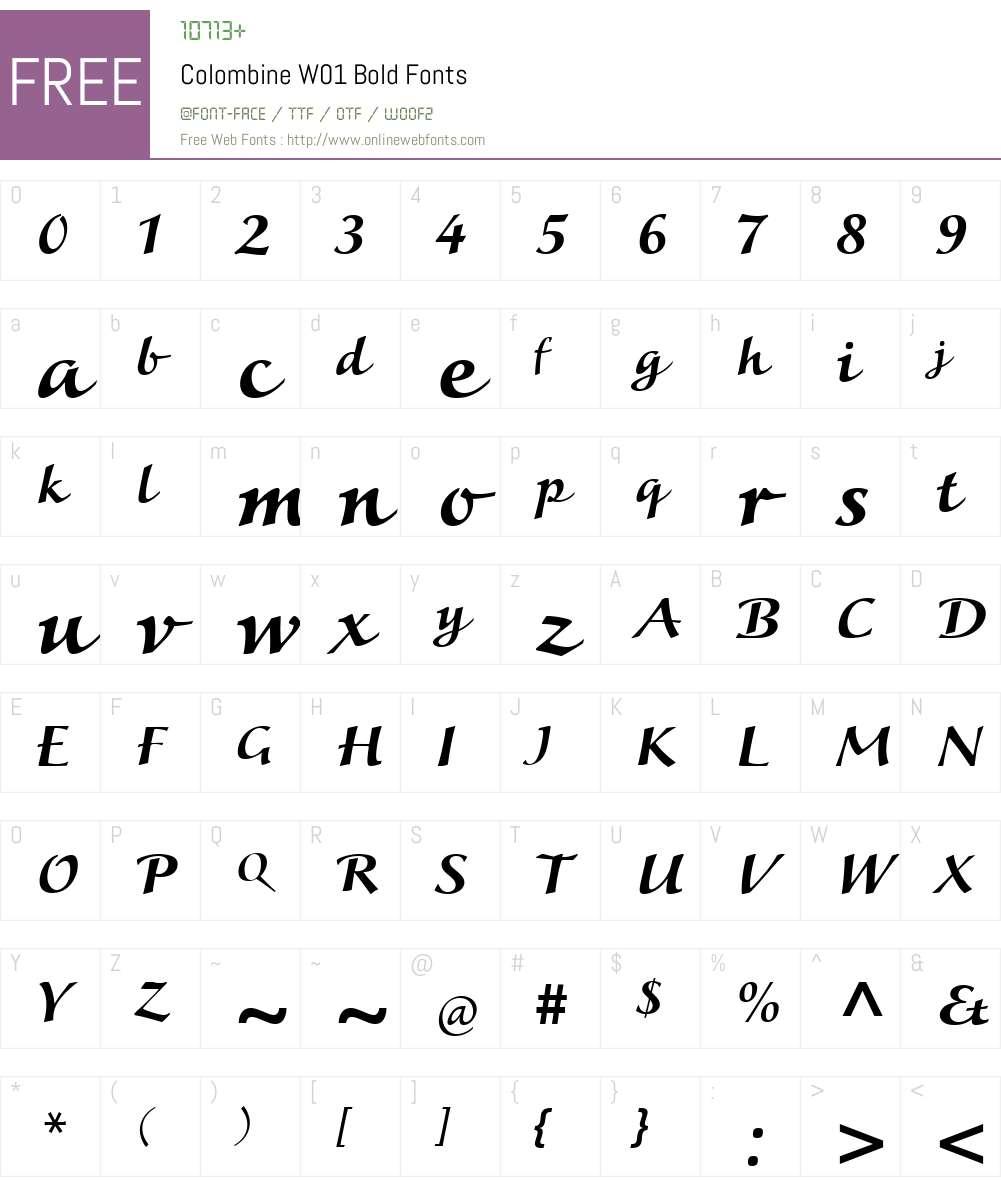 ColombineW01-Bold Font Screenshots