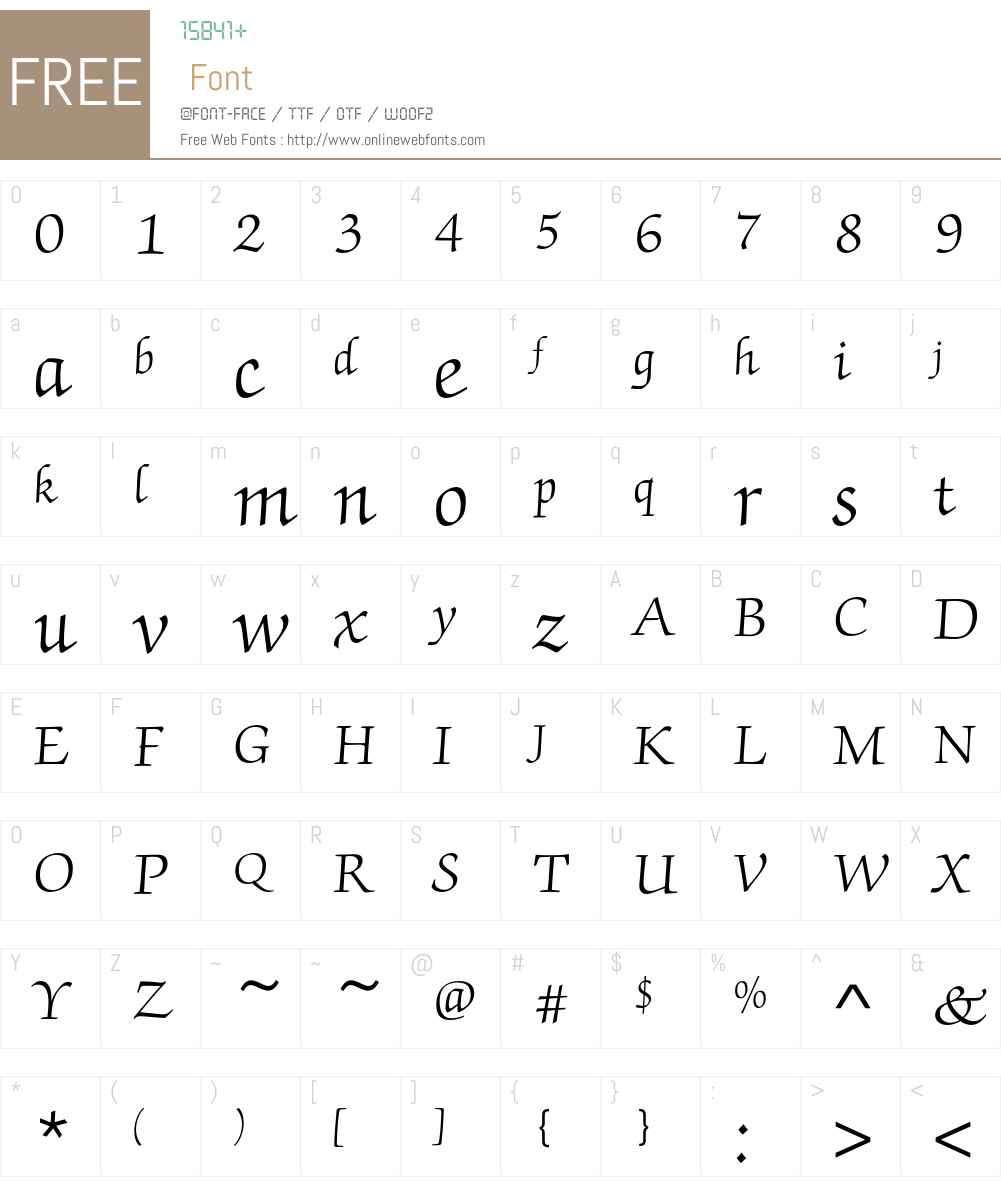 ZapfChanceryEF Font Screenshots