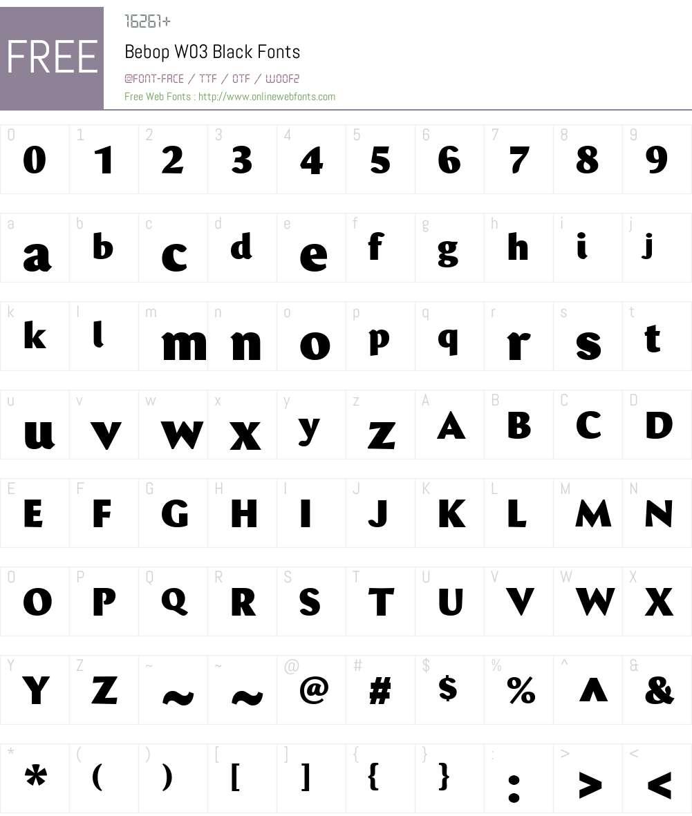Bebop Font Screenshots