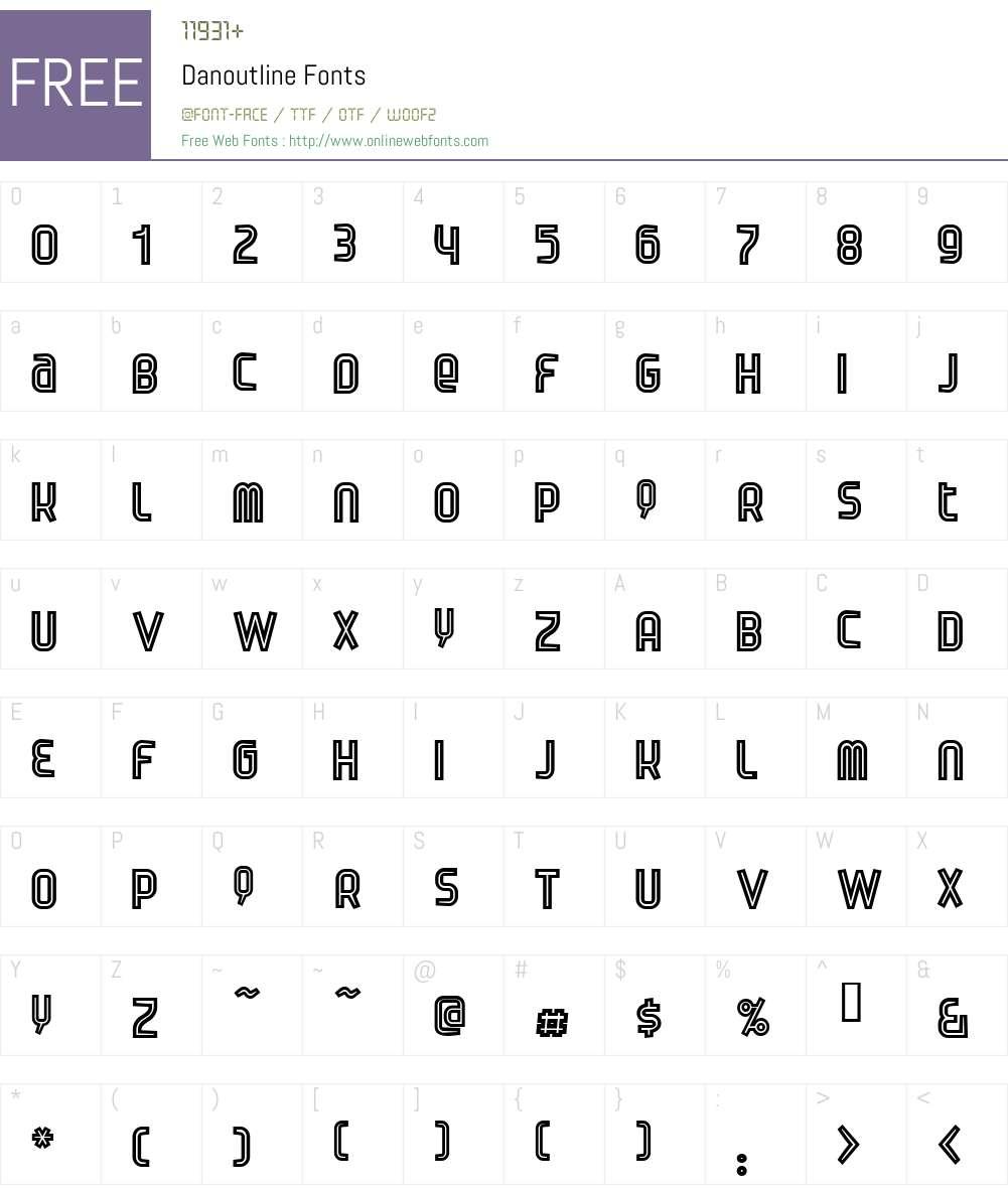 Danoutline Font Screenshots