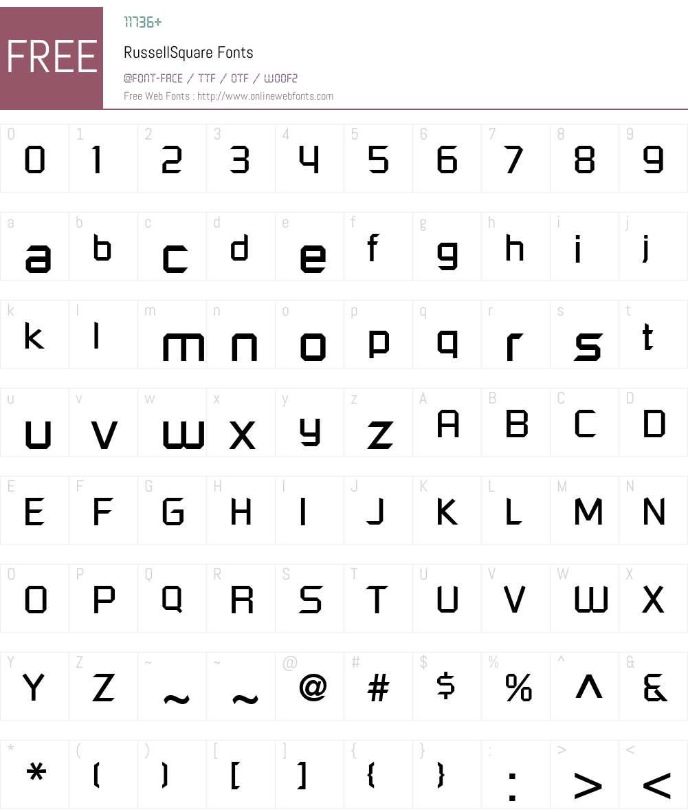 RussellSquare Font Screenshots