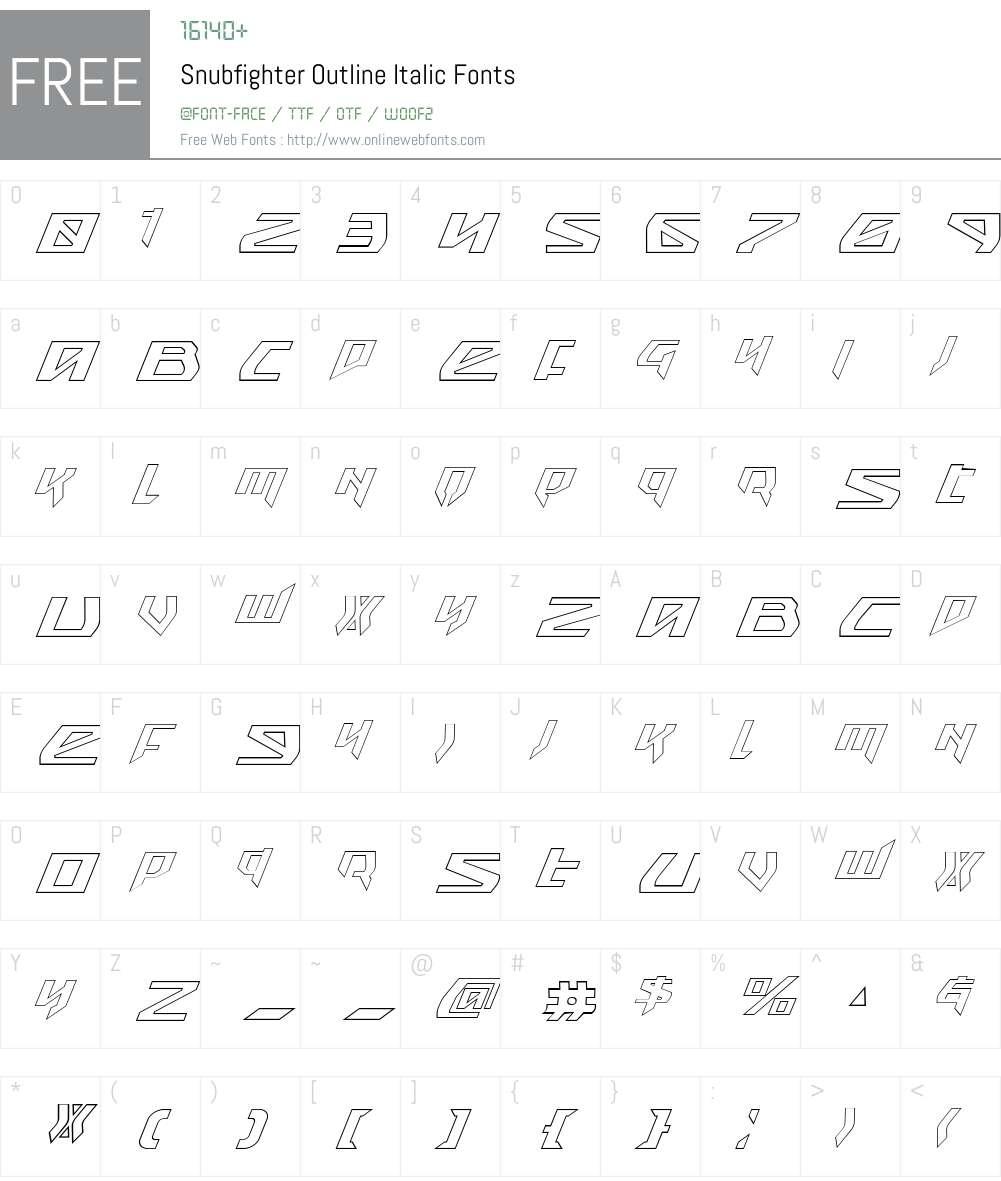 Snubfighter Outline Italic Font Screenshots