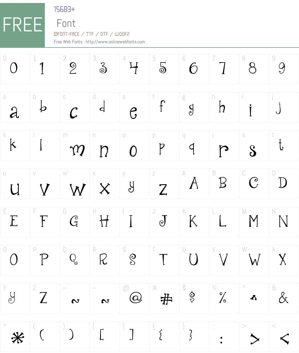 JandaQuirkygirlW00-Reg Font Screenshots