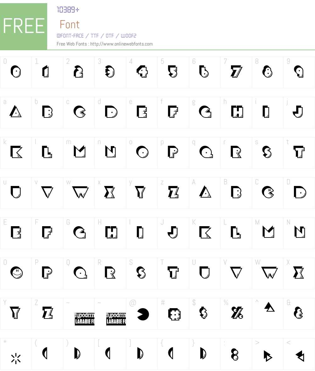 CrackMan Font Screenshots