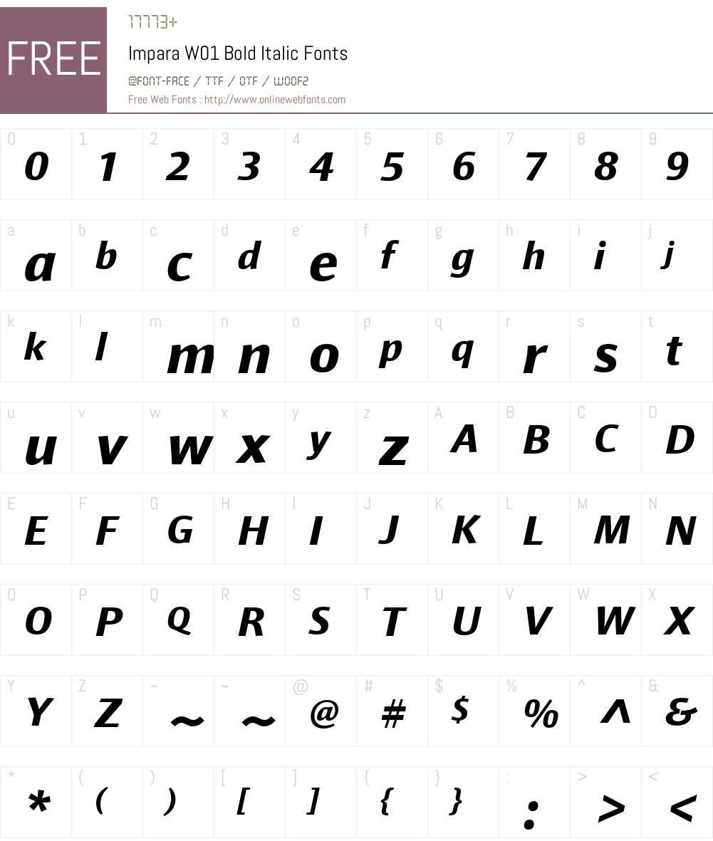 ImparaW01-BoldItalic Font Screenshots