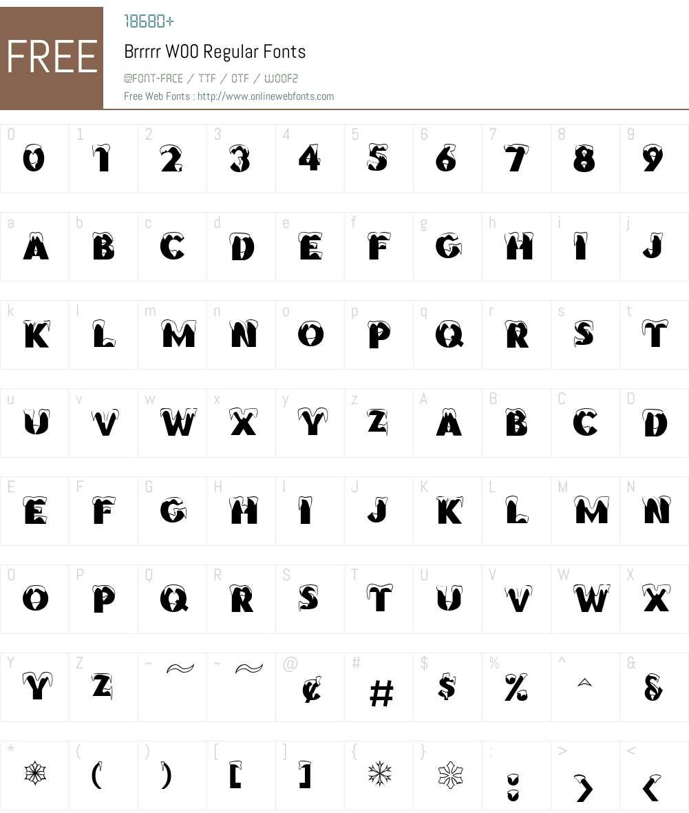 BrrrrrW00-Regular Font Screenshots