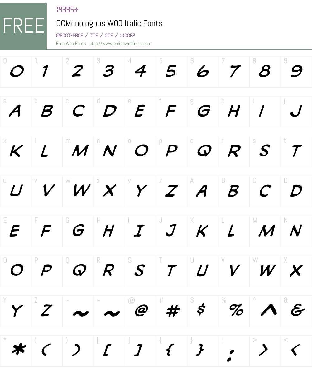CCMonologousW00-Italic Font Screenshots
