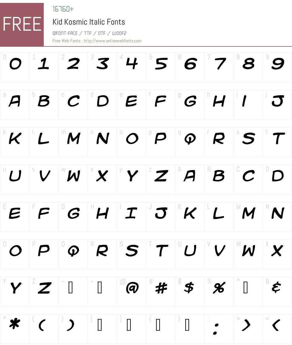 Kid Kosmic Font Screenshots