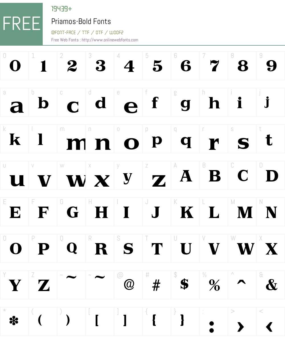 Priamos-Bold Font Screenshots