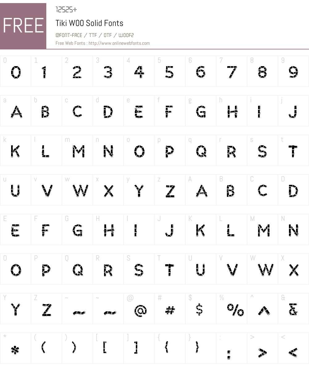 TikiW00-Solid Font Screenshots