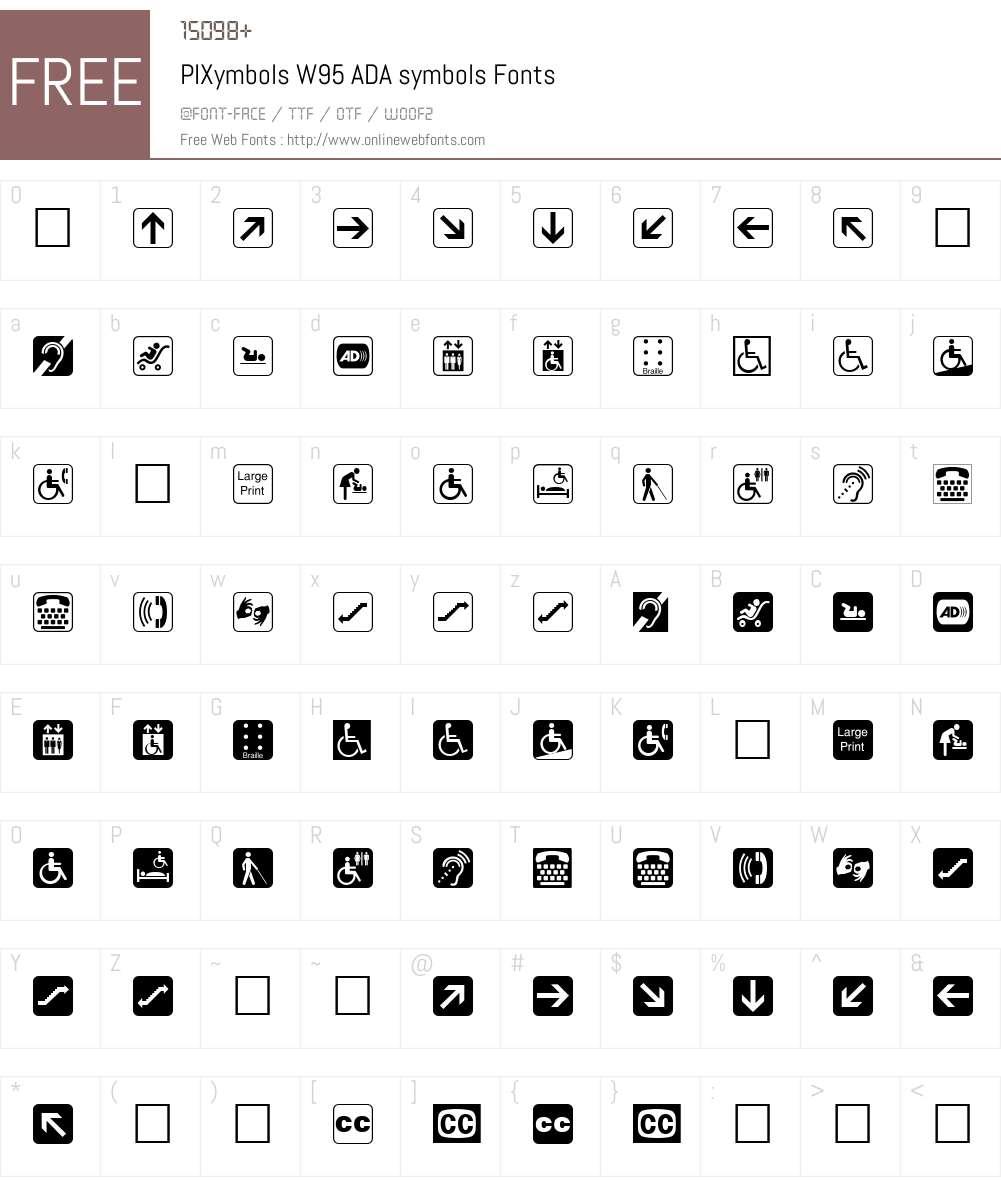 PIXymbolsW95-ADAsymbols Font Screenshots