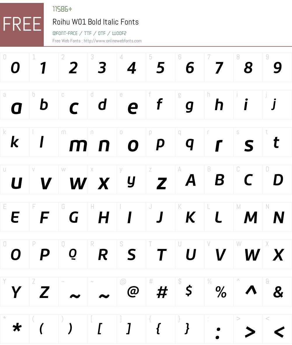 RoihuW01-BoldItalic Font Screenshots