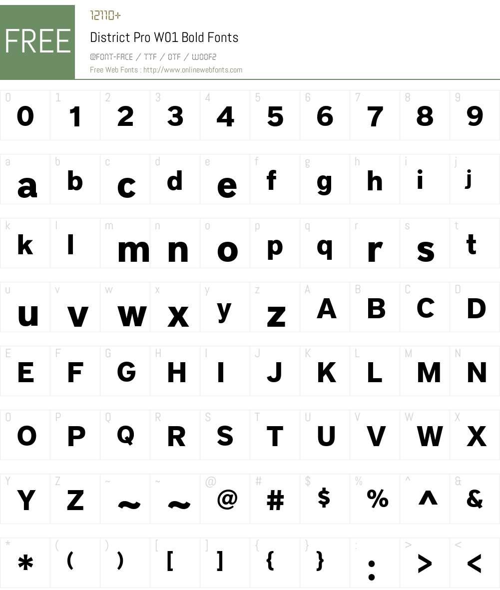 DistrictProW01-Bold Font Screenshots