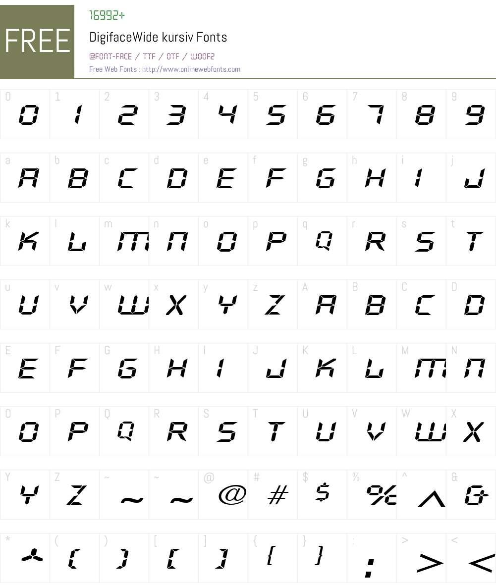 DigifaceWide Font Screenshots