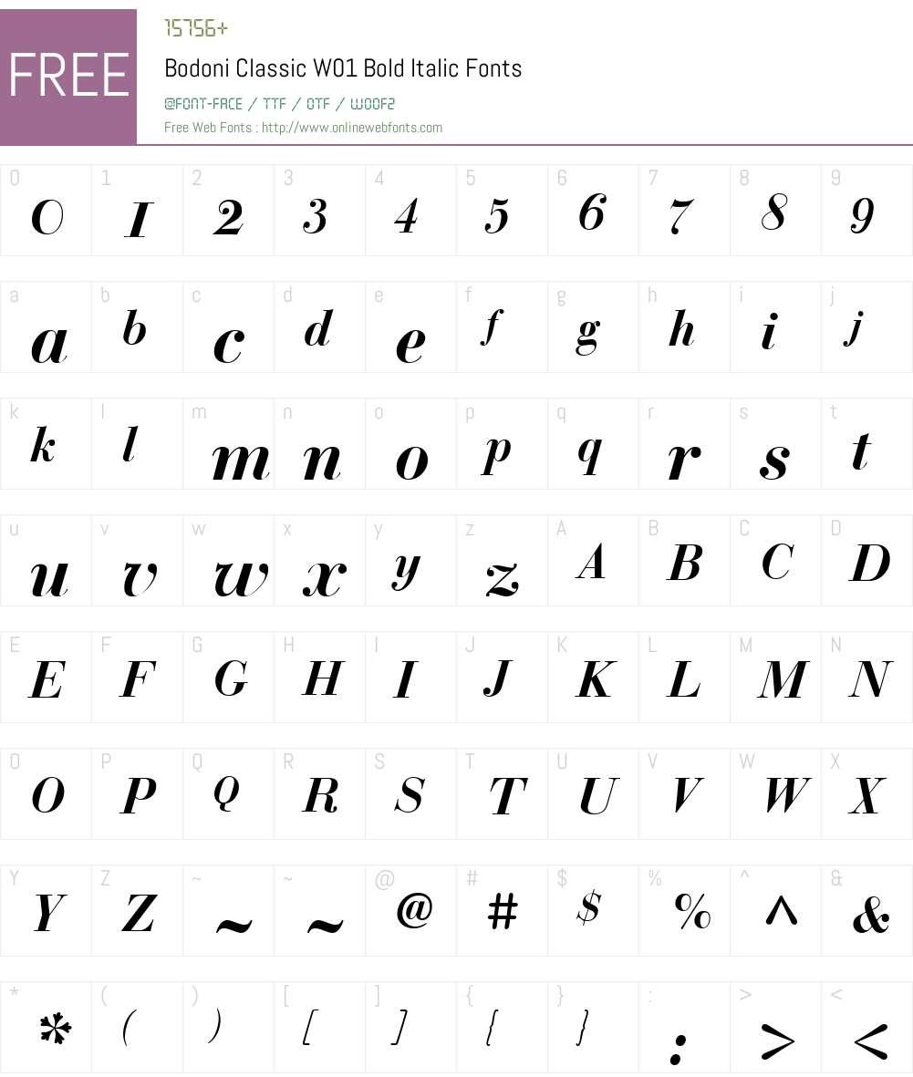 BodoniClassicW01-BoldItalic Font Screenshots
