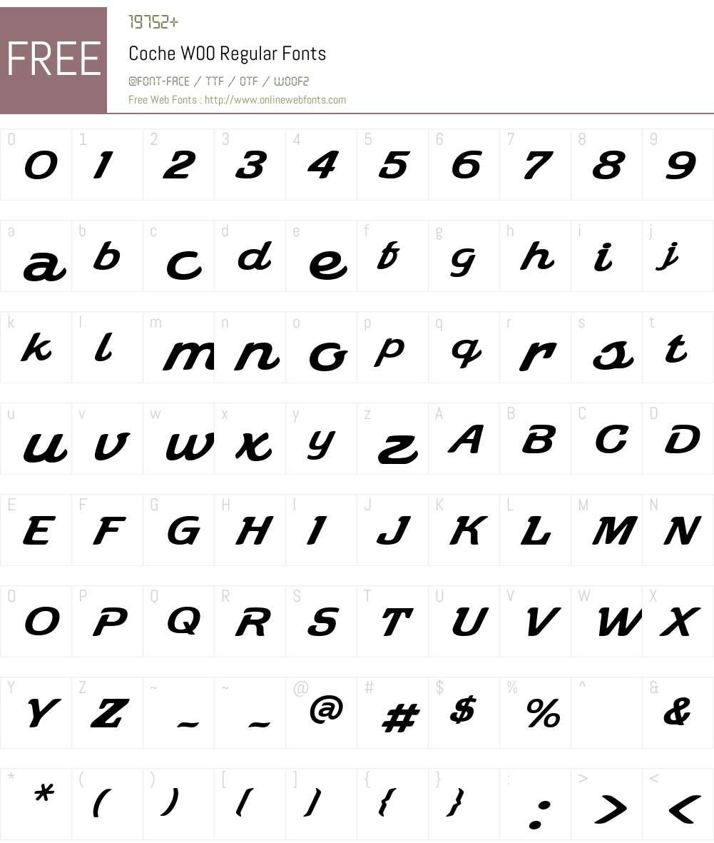 Coche Font Screenshots