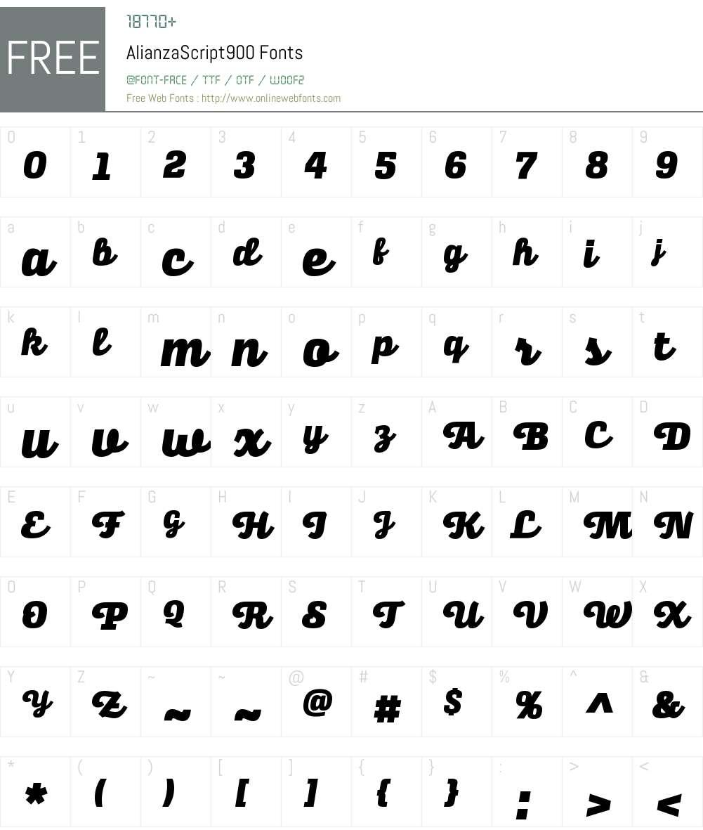 Alianza Script 900 Font Screenshots