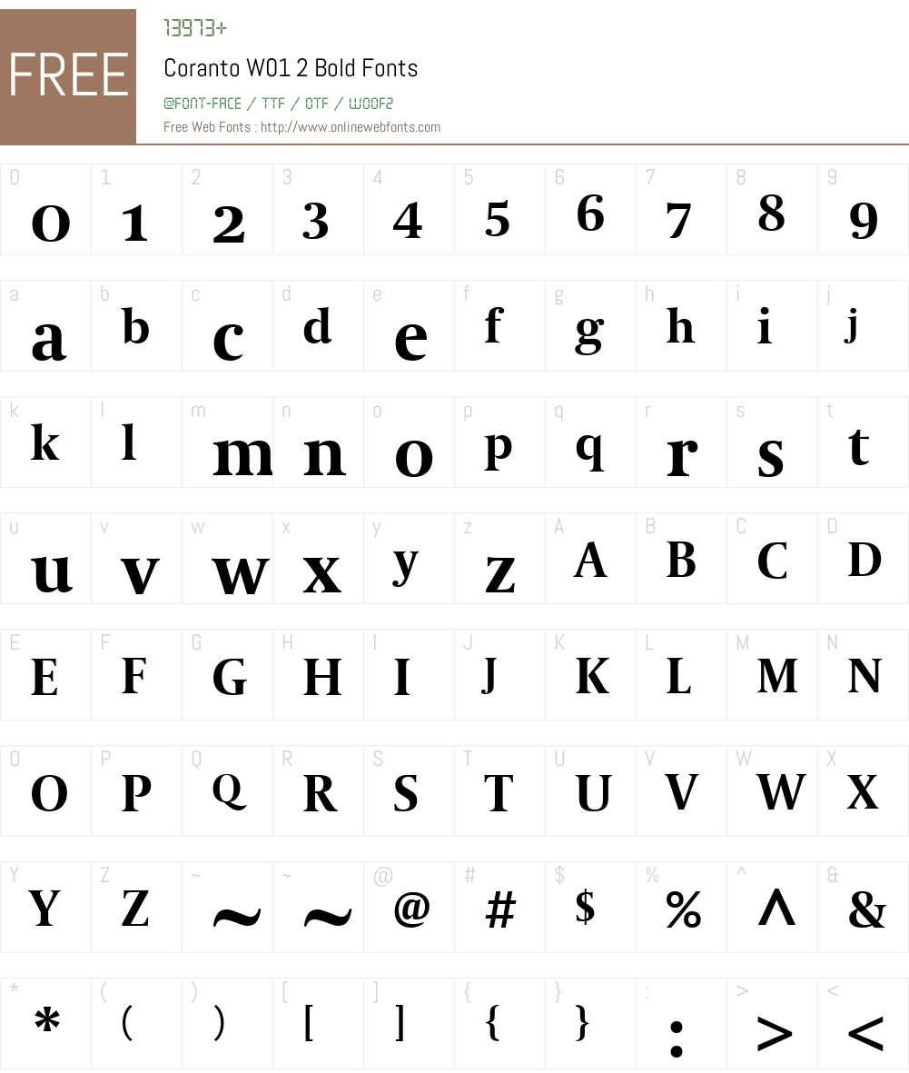 CorantoW01-2Bold Font Screenshots