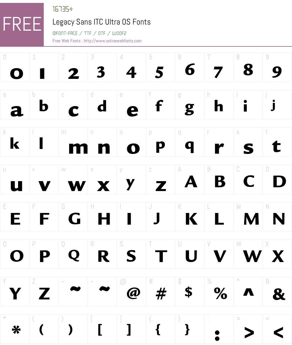 Legacy Sans ITC Font Screenshots