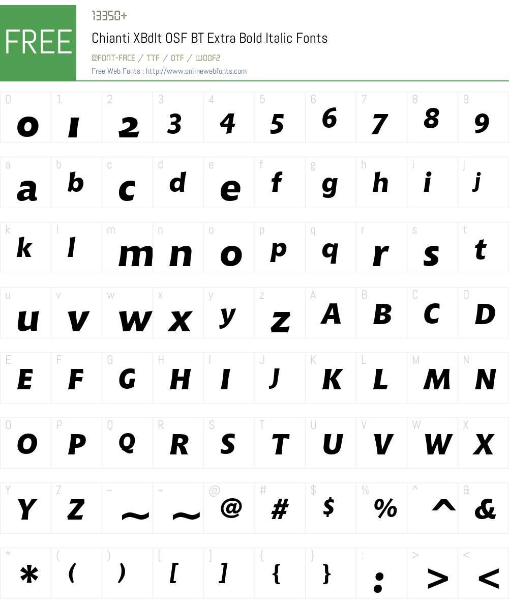Chianti XBdIt OSF BT Font Screenshots
