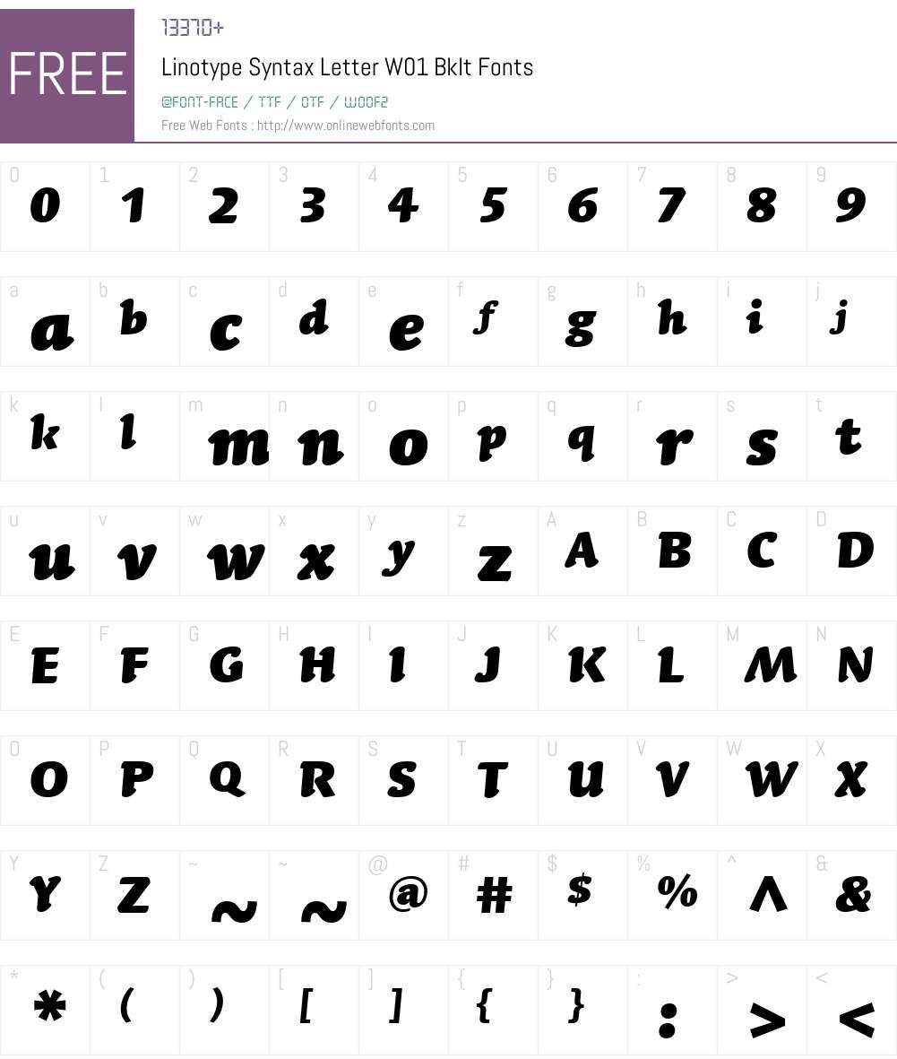 LinotypeSyntaxLettrW01-BkIt Font Screenshots