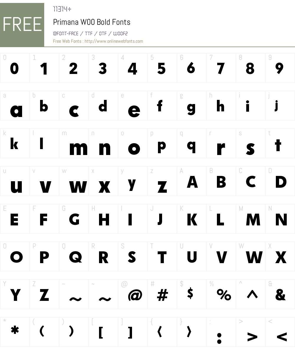 PrimanaW00-Bold Font Screenshots