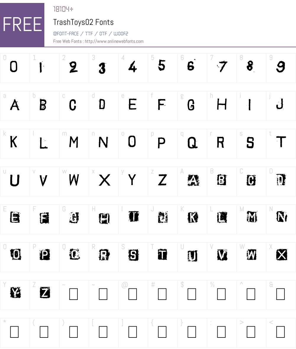 TrashToys02 Font Screenshots