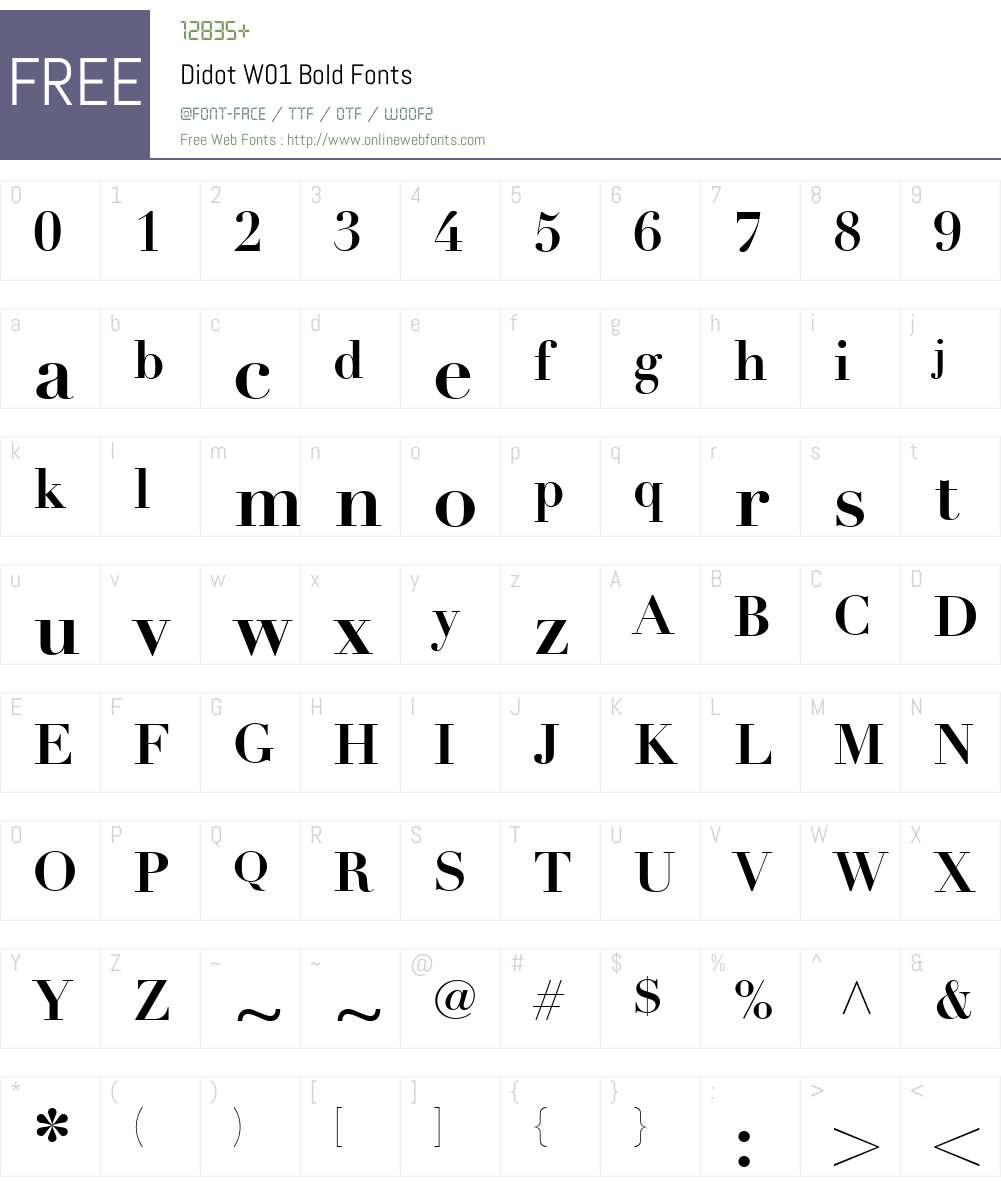 DidotW01-Bold Font Screenshots