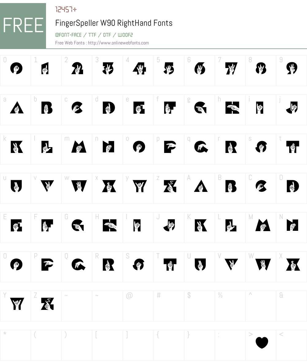 FingerSpellerW90-RightHand Font Screenshots