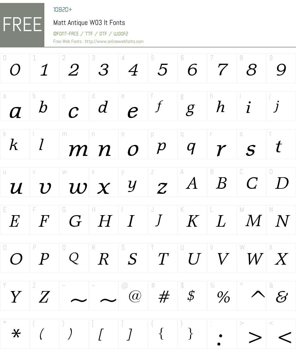 Matt Antique Font Screenshots