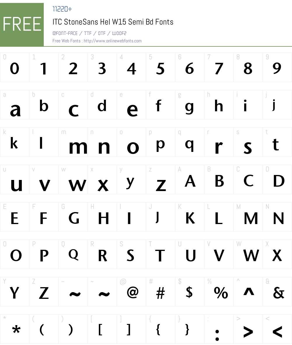 ITCStoneSansHelW15-SemiBd Font Screenshots