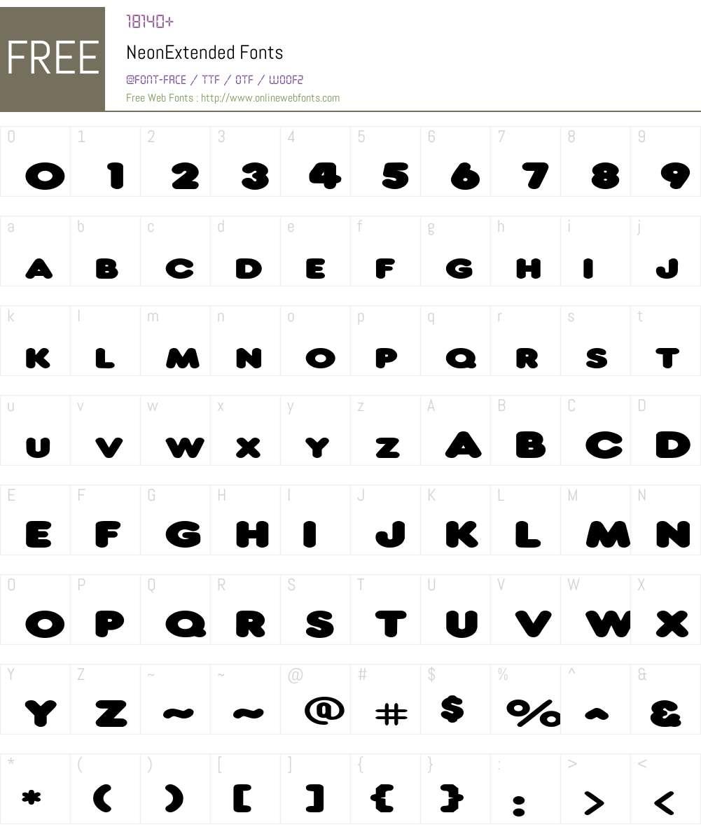 NeonExtended Font Screenshots
