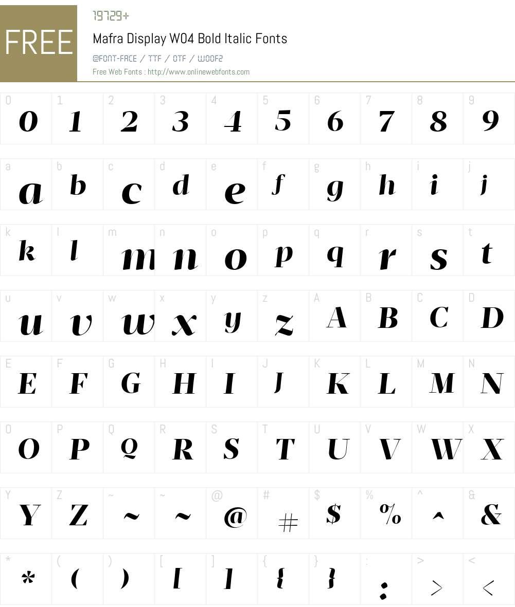 Mafra Display Font Screenshots