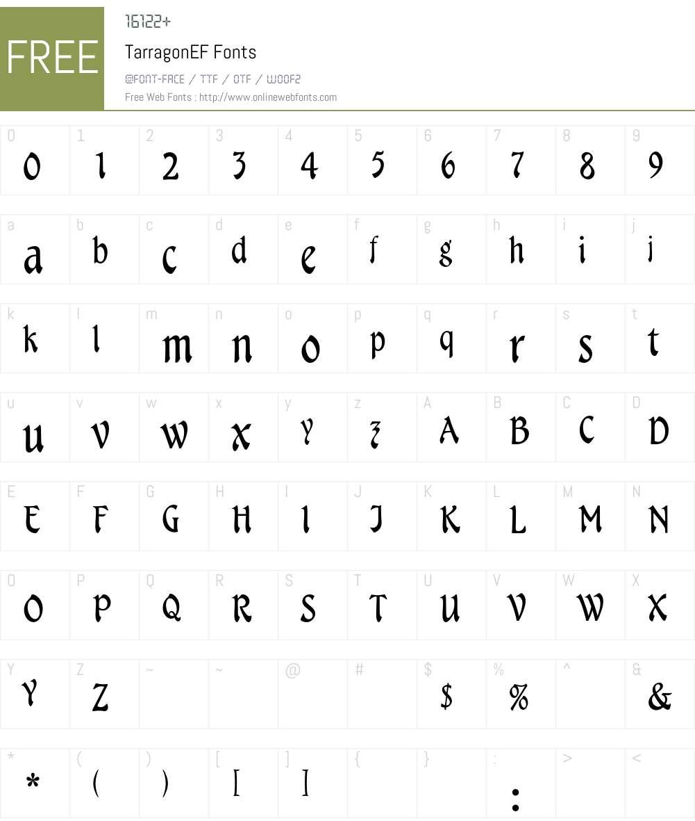 TarragonEF Font Screenshots