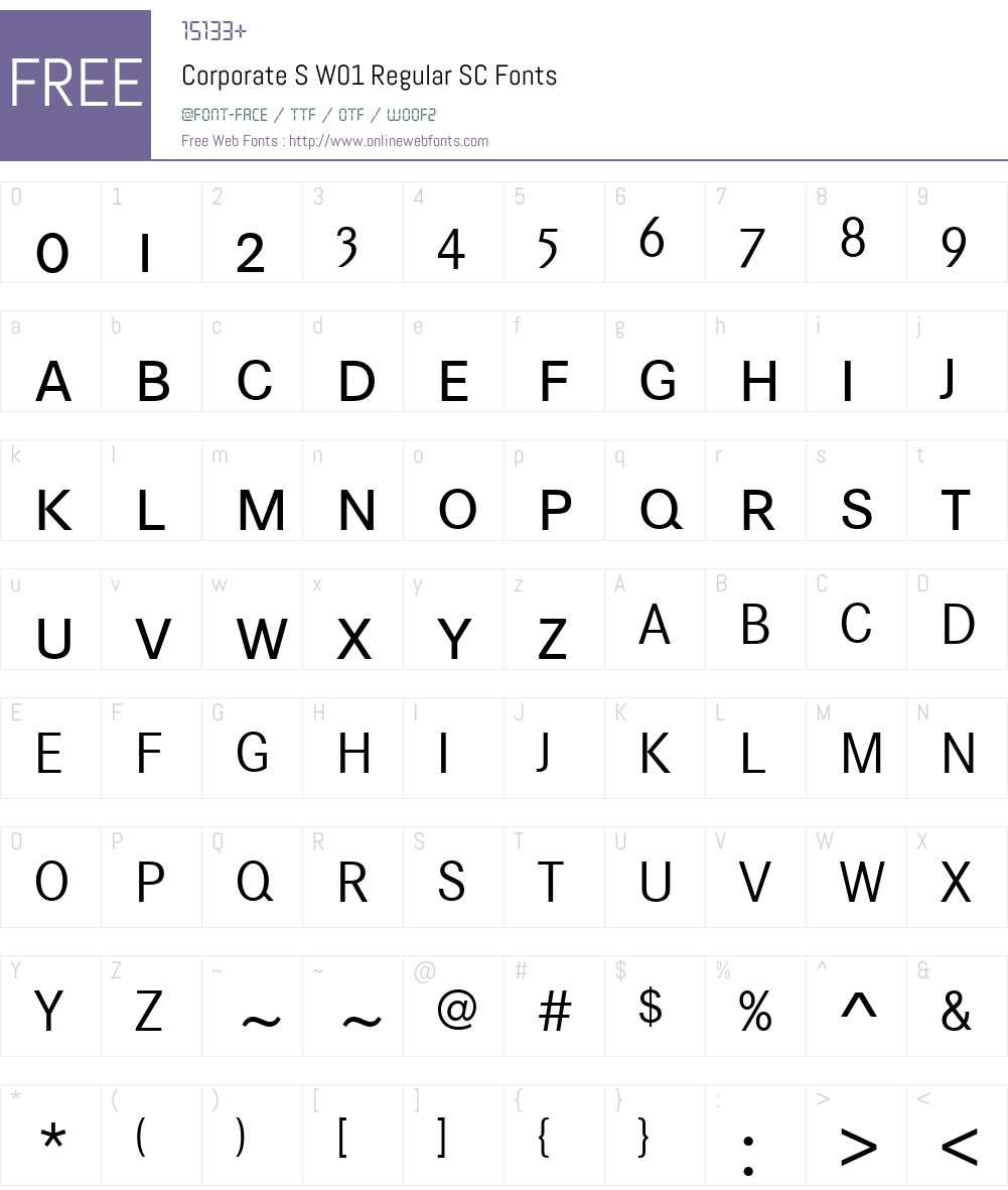 CorporateSW01-RegularSC Font Screenshots