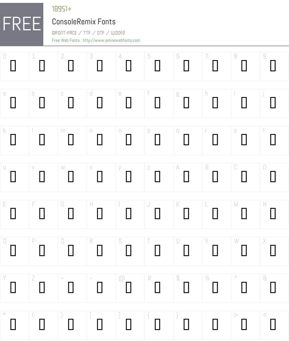 ConsoleRemix Font Screenshots