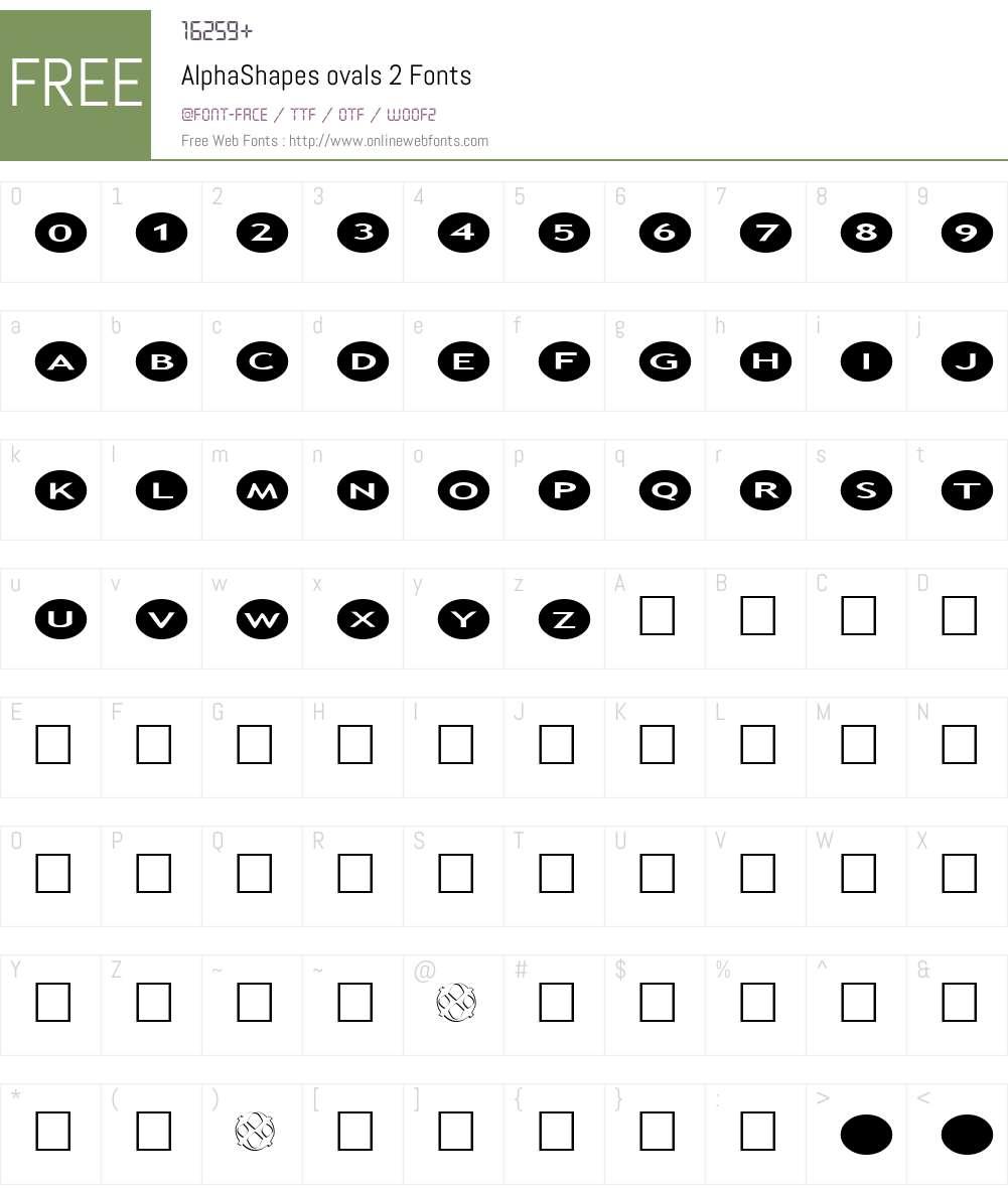 AlphaShapes ovals 2 Font Screenshots