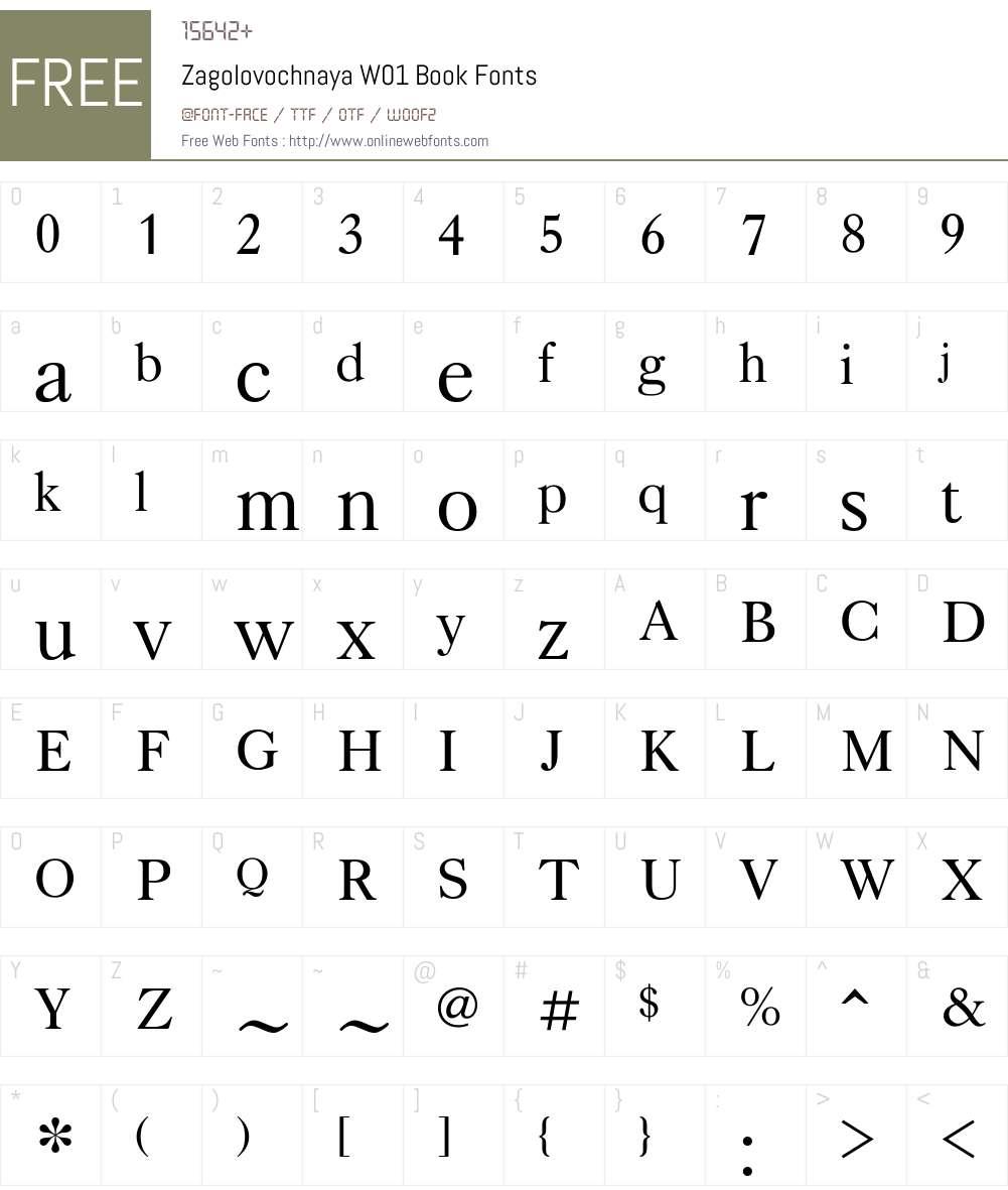 ZagolovochnayaW01-Book Font Screenshots