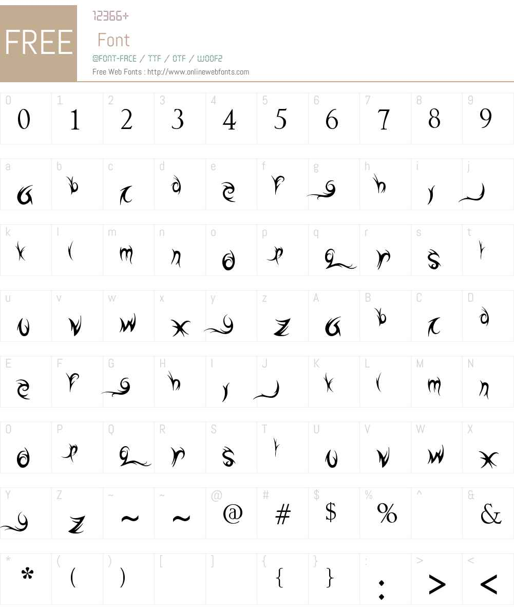 tribal names Font Screenshots