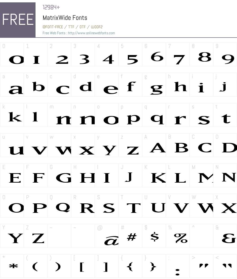 MatrixWide Font Screenshots