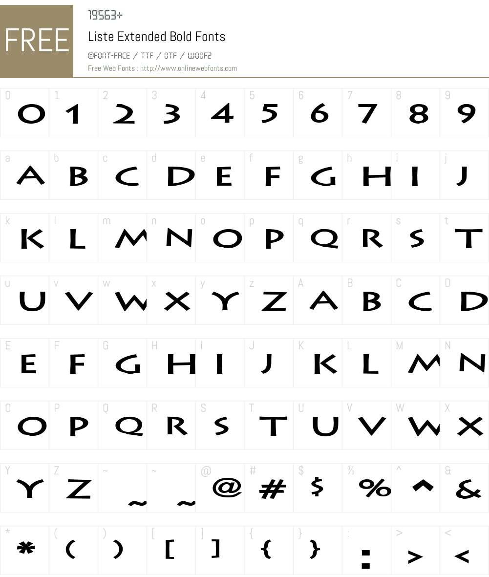 Liste Extended Font Screenshots