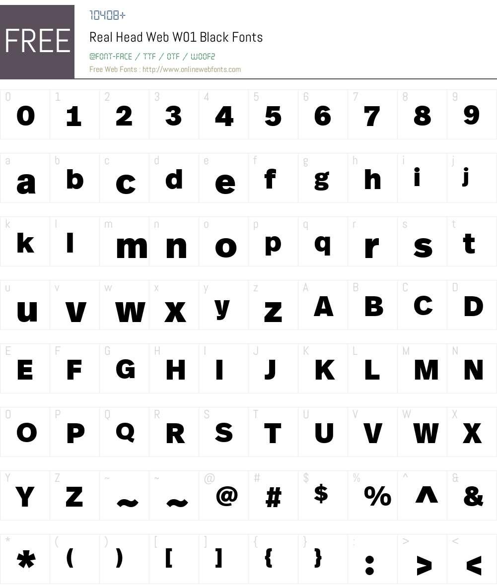 RealHeadWebW01-Black Font Screenshots