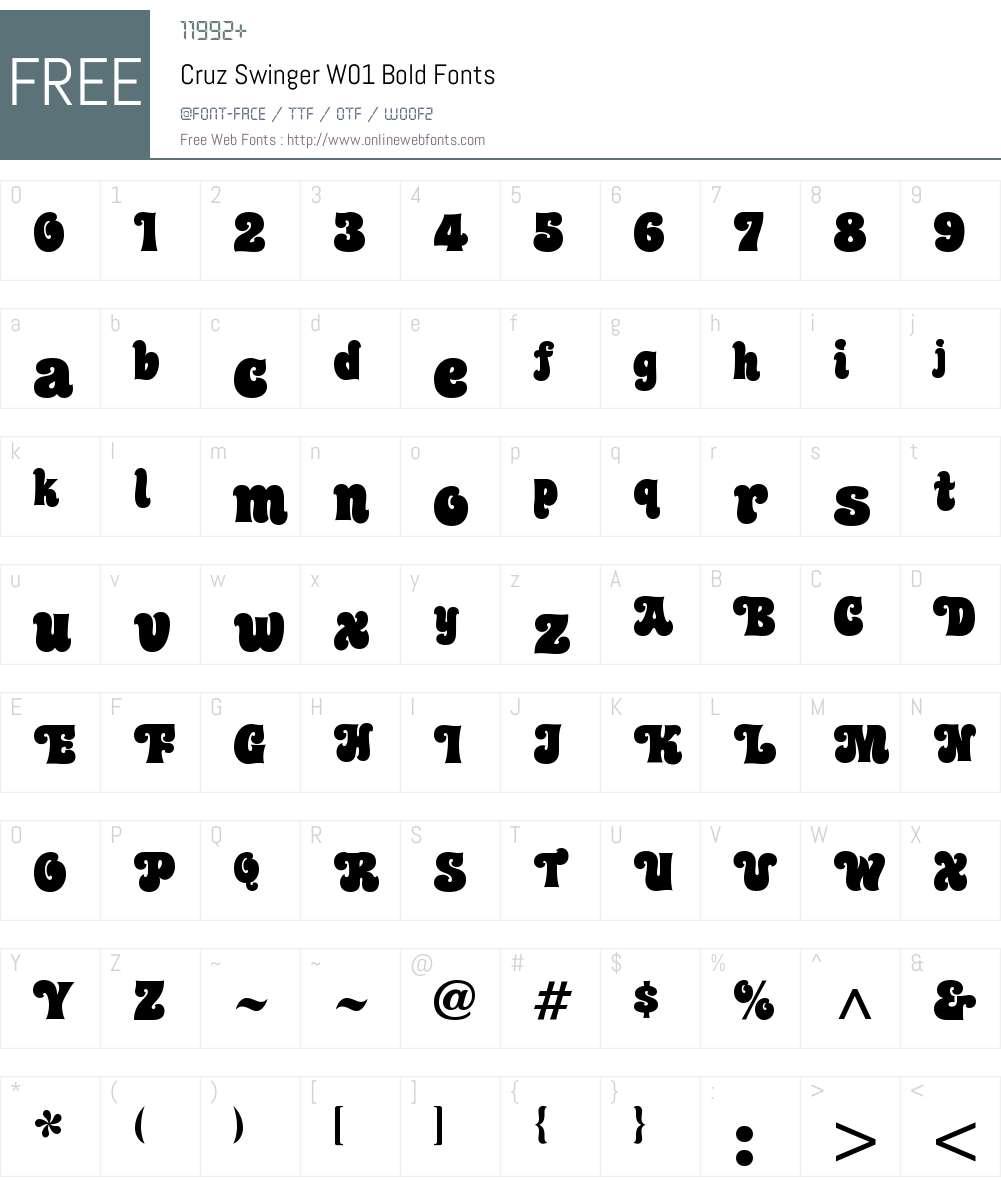 CruzSwingerW01-Bold Font Screenshots