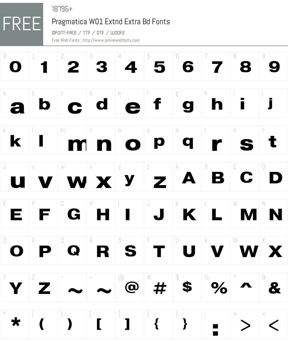 PragmaticaW01-ExtndExtraBd Font Screenshots