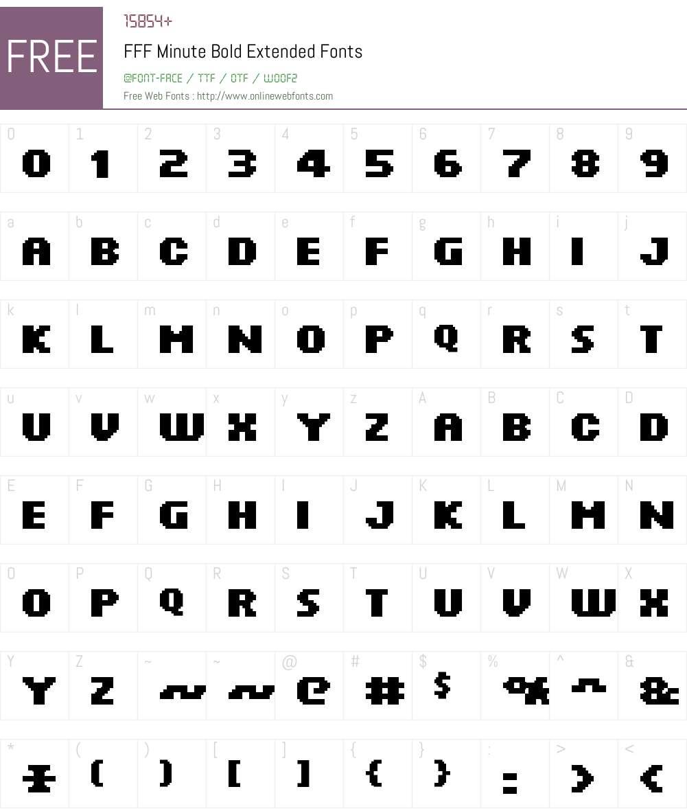 FFF Minute Bold Extended Font Screenshots