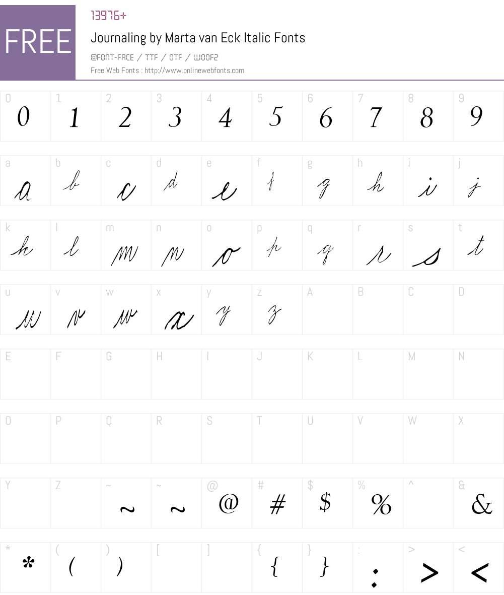 Journaling by Marta van Eck Font Screenshots