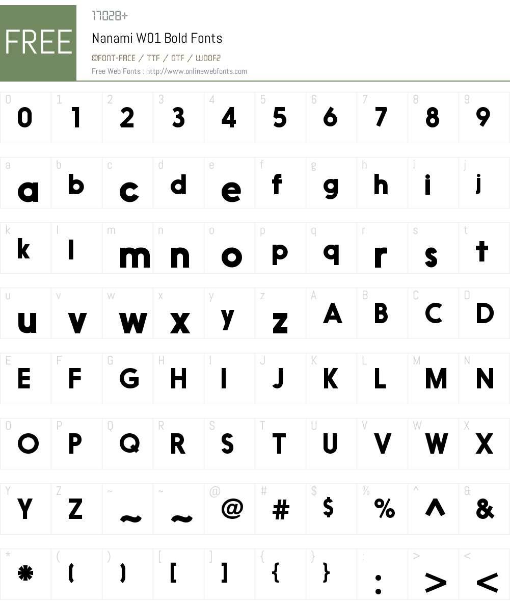 NanamiW01-Bold Font Screenshots