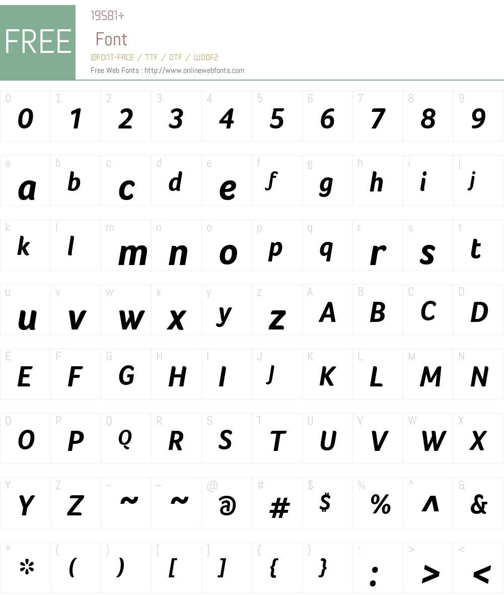 FocoW01-BoldItalic Font Screenshots