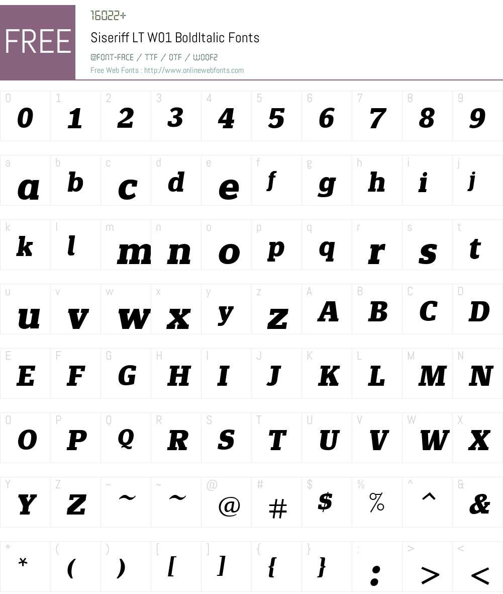 SiseriffLTW01-BoldItalic Font Screenshots