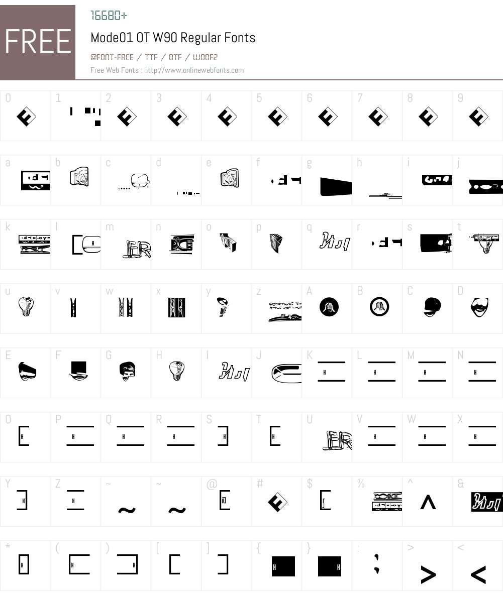 FF Mode01 Font Screenshots